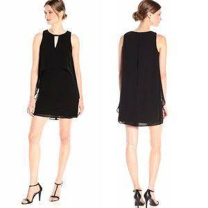 NWT Vince Camuto Black Flutter Chiffon Dress Sz 10